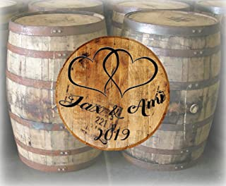 Rustic Home Decor Personalized Whiskey Barrel Lid Wedding Hearts Guest Book Bar Sign Man Cave