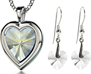 925 Silver Heart Jewelry Set I Love You Necklace 120 Languages Gold Inscribed CZ - Crystal Earrings, 18