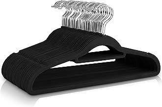 Utopia Home Antidérapant Cintres en Velours de qualité supérieure [Paquet de 50] (42cm)- Cintres Résistant avec Barre d'attache - Assez résistants pour contenir des Vestes et des Sweatshirts (Noir)