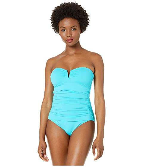 eb949734255 Tommy Bahama Pearl V-Front Bandeau One-Piece Swimsuit at Zappos.com