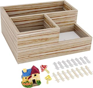3-Grid Natural Wooden Succulent Flower Planter Box + 5 Miniature Ornaments - Drainage Holes, Drip Tray, Anti-Mold Base : Also Use as Desk Organizer - Great Plant Gift