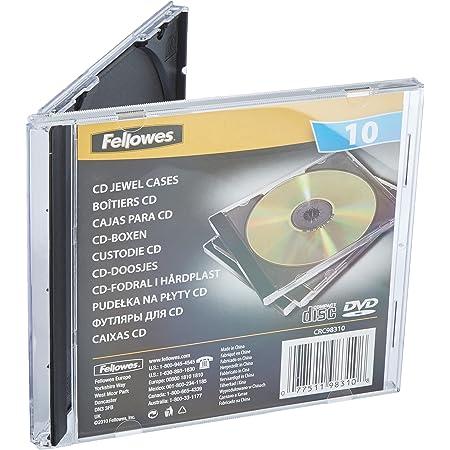 Fellowes 98310 - Pack de 10 Cajas Estuche para CDs/DVDs, Color Negro