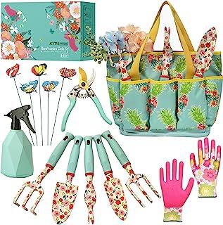 Kit4Pros Floral Garden Tool Set| Gardening Gifts for Women Birthday| Heavy Duty Tools Kit|Storage Tote Bag Organizer| Prun...