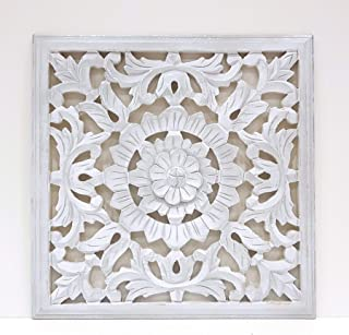 -Mandala de Pared, Fabricada artesanalmete en España, tamaño 40x40 cm, Modelo GR93. Forma Cuadrada (Blanco Plata)