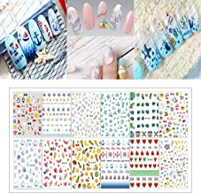 Kitmate Summer Nail Art Stickers,12 sheets 3D Water Transfer Nail Stickers Fruits Ocean Leaves Tropical Element Decals for Women Girls Kids Manicure DIY or Nail Salon,More than 1000Pcs