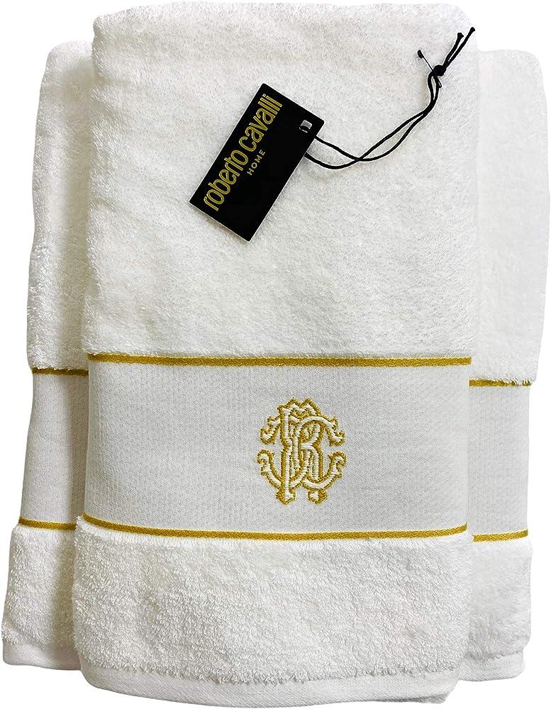 Roberto cavalli 2 asciugamani da bagno 60 x 110 cm 100 x 150 cm in morbida spugna di cotone