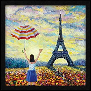 ArtX Paper Eiffel Tower Girl Framed Wall Art Painting, Multicolor, Abstract, 13 X 13 inches, Set of 1