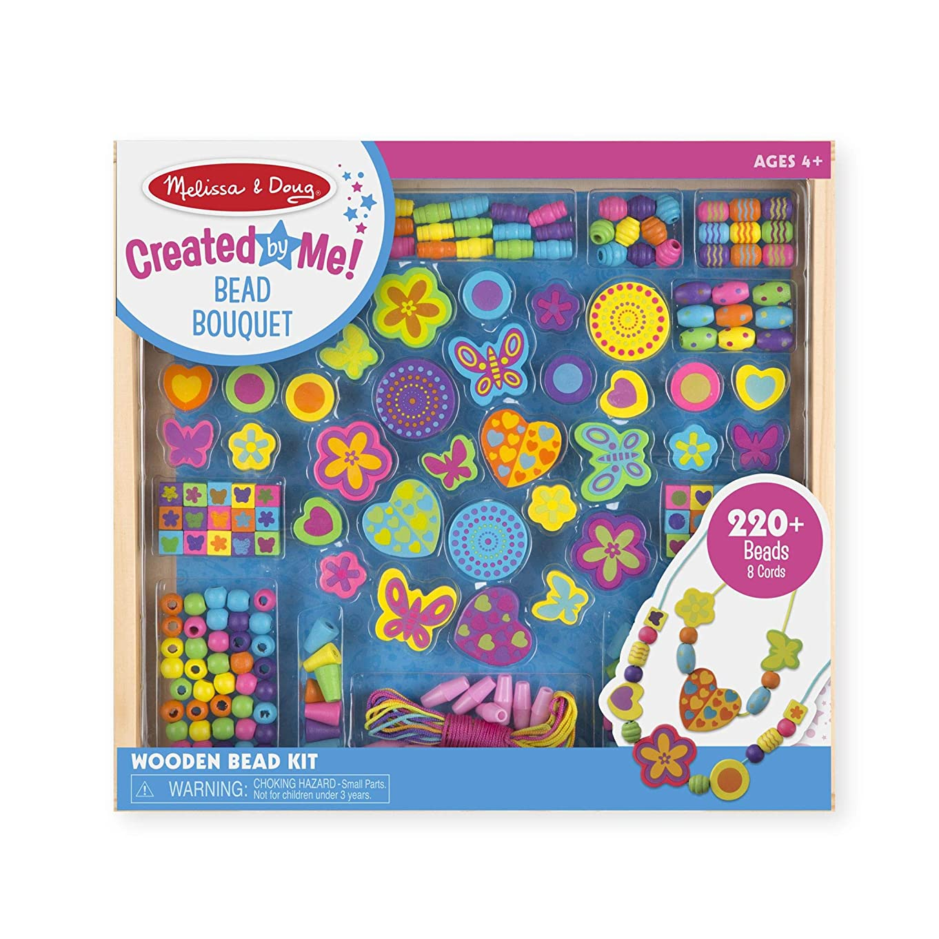 """Melissa & Doug Bead Bouquet Deluxe Wooden Bead Set, Arts & Crafts, Handy Wooden Tray, 220 Beads and 8 Cords, 9.5"""" H x 13"""" W x 1"""" L"""