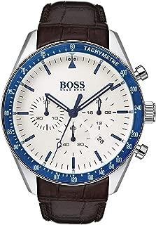 Hugo Boss Mens Quartz Watch, Analog Display and Leather Strap 1513629