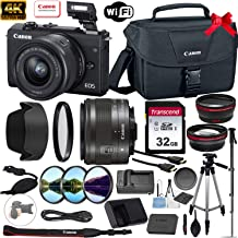 $549 » Canon EOS M200 Mirrorless Digital Camera 24.1MP 4K with 15-45mm Lens (Black) + Accessory Bundle: 32GB Memory Card, Canon EOS Shoulder Bag 100ES, Tripod, Monopod, Grip Strap & More