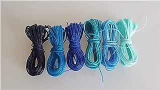 Genérico Mix Ocean Thread Waxed 1mm, 6 Packs of 5 Meters per Color Nylon Bracelets Beads Macrame Thread Waxed Polyester Cord Thread Macrame