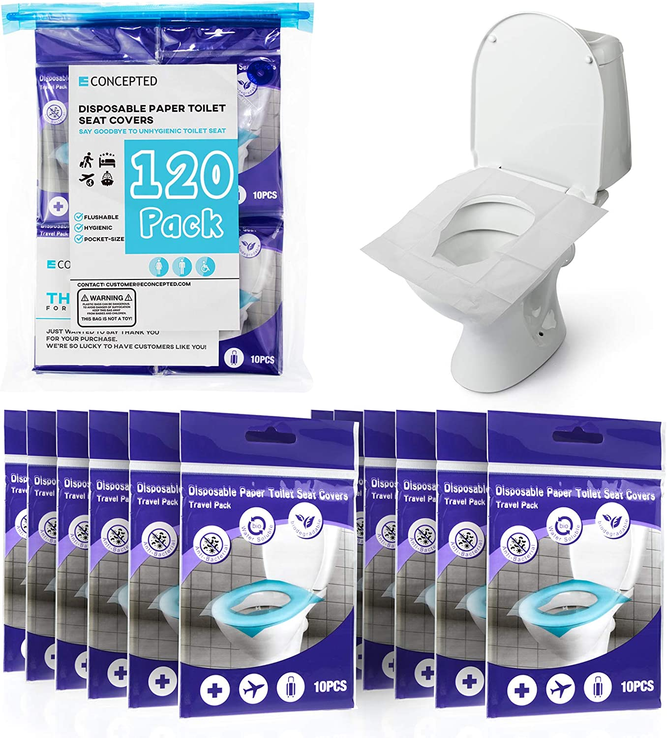 120 Toilet Seat Covers Disposable - Waterproof Paper Toilets Accessories Self-Disposable Half-Fold Seat Covers for Travel Adults Kids Baby Toddlers Potty Training Liners in Public Restrooms