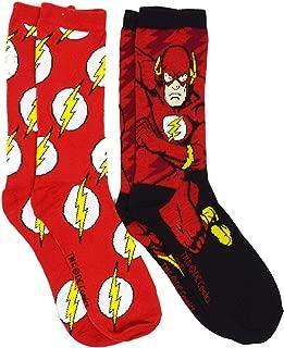 Dc Comics The Flash Logo Barry Men's Casual Crew Sock Set Pack of 2