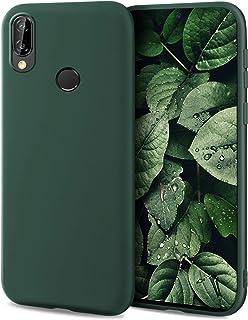 Moozy Minimalist Series Funda Silicona para Huawei P20 Lite, Verde Oscuro con Acabado Mate, Cover Carcasa de TPU Suave y Fina