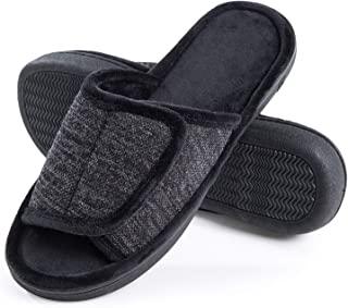 Adjustable-Mens-Slippers-Memory-Foam, Open Toe House Slippers for Men Indoor Outdoor, Breathable Slide Bedroom Slippers for Men Anti-Slip Rubber Sole Black Gray Navy Brown