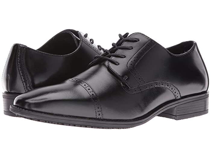 1920s Boardwalk Empire Shoes Stacy Adams Abbott Slip Resistant Cap Toe Oxford Black Mens Lace Up Cap Toe Shoes $59.85 AT vintagedancer.com