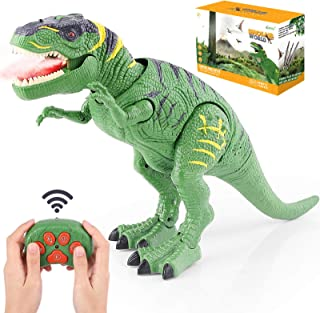PESUMA Remote Control Dinosaur Toys for 3-5 Year Old Boys Girls, LED Light Up Walking and Roaring Realistic T-Rex Dinosaur Toy with Glowing Eyes Projection Spray Function for Kids Gifts Age 3+