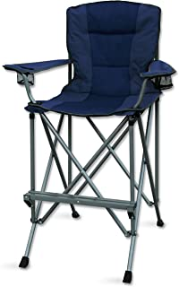 RMS Outdoors Extra Tall Folding Chair - Bar Height Director Chair for Camping, Home Patio and Sports - Portable and Collapsible with Footrest and Carrying Bag - Up to 300 lbs Weight Capacity (Blue)