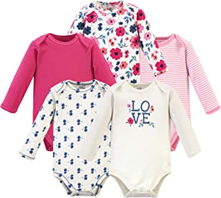Touched by Nature Baby Girls Organic Cotton Long-Sleeve Bodysuits, Garden Floral, 9-12 Months