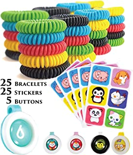 PREPARED4X Mosquito Repellent Bracelets, Waterproof Natural Deet Free Bug Repellent Wristbands, Stickers & Clips - One Size Fit-All - Assorted Set of 55 with 25 Bracelets, 25 Stickers & 5 Button Clips