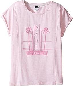 Short Sleeve Melange Jersey Tee w/ Miami Print (Big Kids)