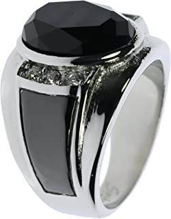 Mens Black Diamond Cut Onyx Stone with Clear Cz Accents Stainless Steel Ring