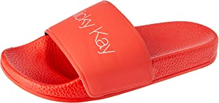 Nicky Kay Slides Women's Slippers, Red, 6 US