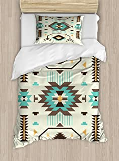 Ambesonne Southwestern Duvet Cover Set, Ethnic Illustration of a Zigzags Design Triangular Iconic Artwork Motifs, Decorative 2 Piece Bedding Set with 1 Pillow Sham, Twin Size, Pale Yellow