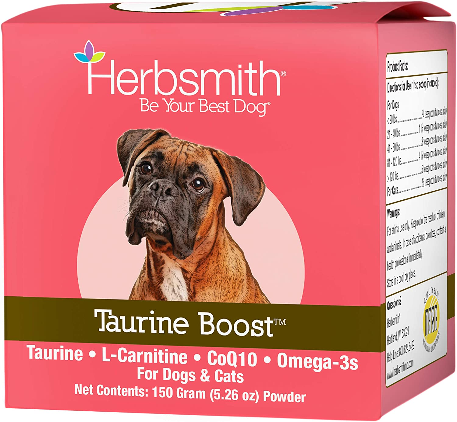 NEW Max 46% OFF Herbsmith Taurine Boost - Cardiac for Support and Dogs Heart