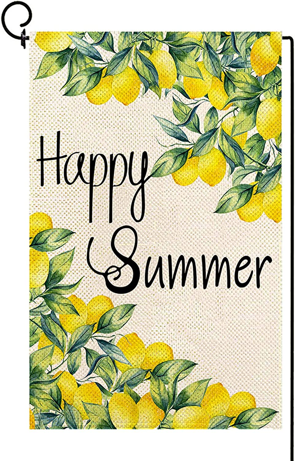 Baccessor Happy Summer Garden Flag Double Sized Summer Lemon Welcome Small Burlap Vertical Yard Flag for Seasonal Farmhouse Rustic Outdoor Outside Lawn Decoration 12 x 18 Inch