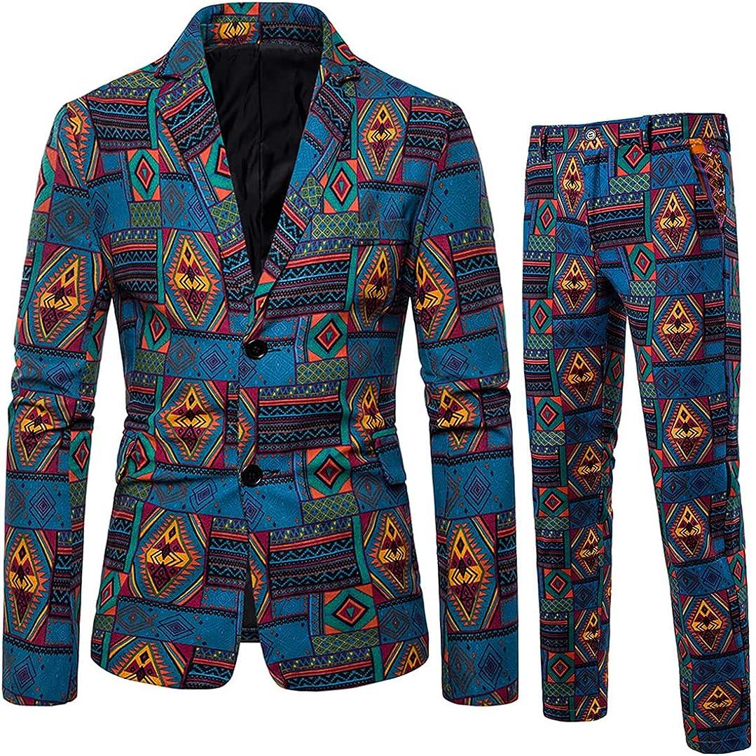 Men Long Sleeve Blazer Jacket Pants 2 Pieces Set Men African Style Business Wedding Prom Suits