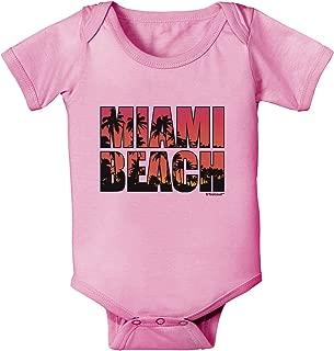 TooLoud Miami Beach - Sunset Palm Trees Baby Romper Bodysuit