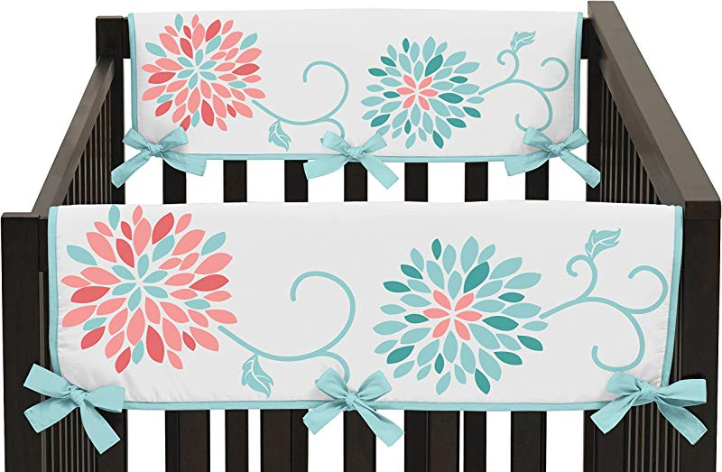 Sweet Jojo Designs Baby Crib Side Rail Guard Covers For Modern Turquoise And Coral Emma Bedding Collection