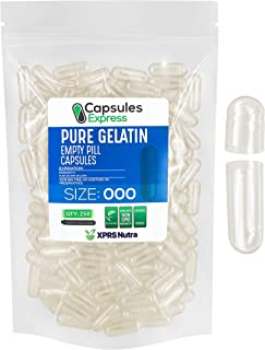 Capsules Express- Size 000 Clear Empty Gelatin Capsules 250 Count - Kosher and Halal Certified - Gluten-Free Pure Bovine G...