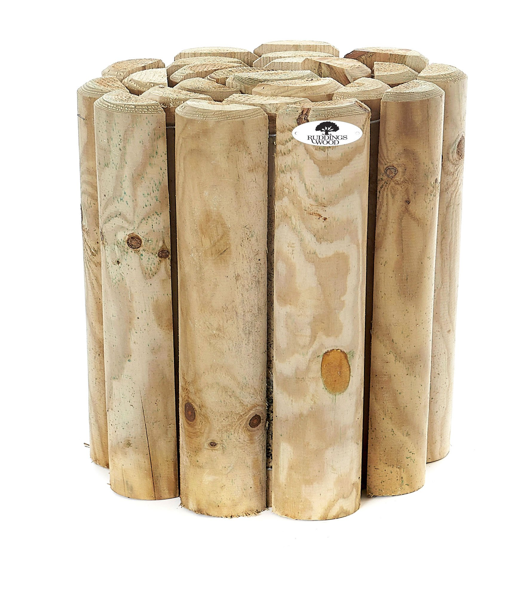 Wooden Border Garden Lawn Edging Pack of 2 x 6 High Log Rolls by Ruddings Wood