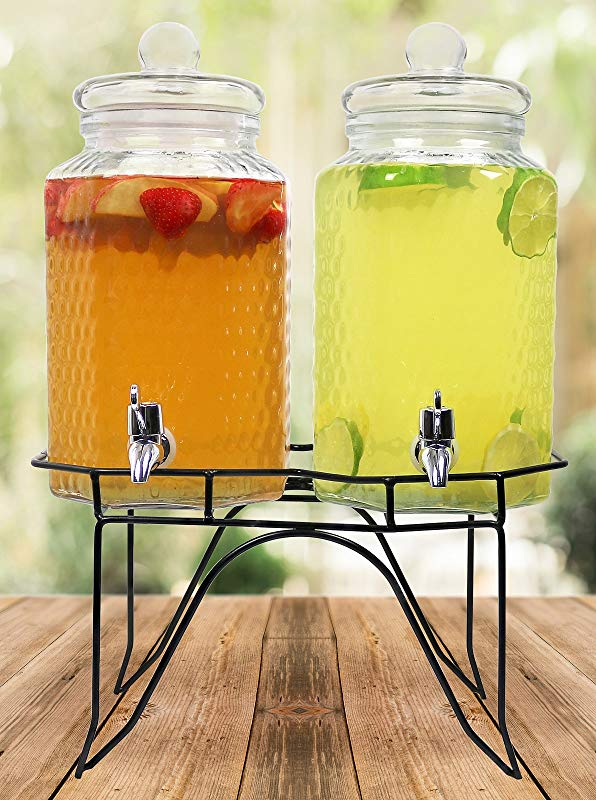 Estilo Hammered Glass Double Beverage Drink Dispenser On Stand With Leak Free Spigot 1 Gallon Clear