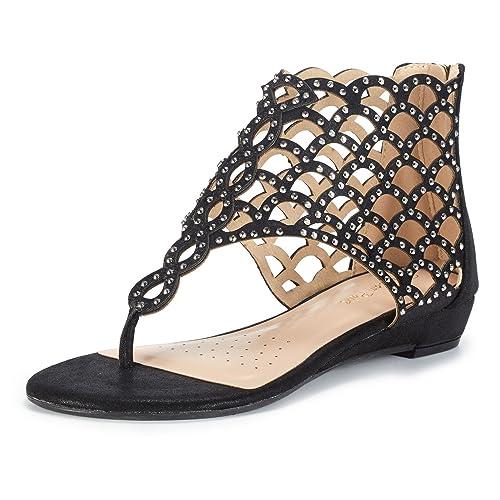 0981f243de9 DREAM PAIRS Women's Jewel Rhinestones Design Ankle High Flat Sandals