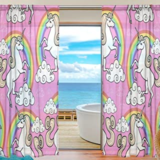 """SEULIFE Window Sheer Curtain, Unicorn Animal Rainbow Star Voile Curtain Drapes for Door Kitchen Living Room Bedroom 55x78 inches 2 Panels 55""""x 78"""" Multi g3721538p112c126s167"""