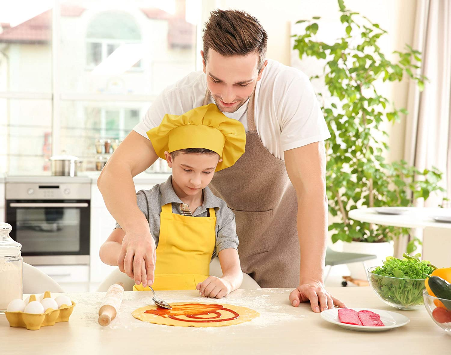 Painting 2-5 Year, Black Adjustable Child Aprons with Pocket for Baking Cooking and Kitchen Traing NOBONDO Kids Apron and Chef Hat Set