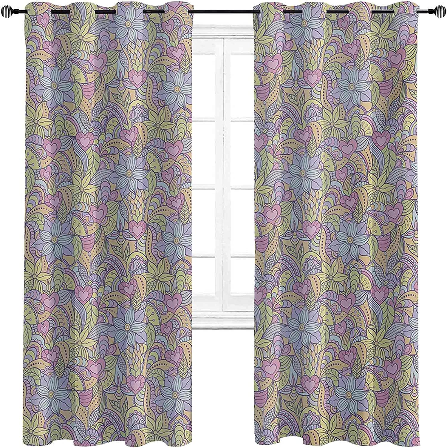 Floral 90%-99% Blackout shopping Lining Curtain Abstract Flow OFFicial store Toned Soft