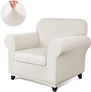 CHUN YI 2-Piece Stretch Polyester and Spandex Rhombus Jacquard Sofa Slipcovers Durable Soft Sofa Cover High Elastic Armchair Slipcover Easy Fitted 1 Seat Couch Cover (Chair, Cream White)