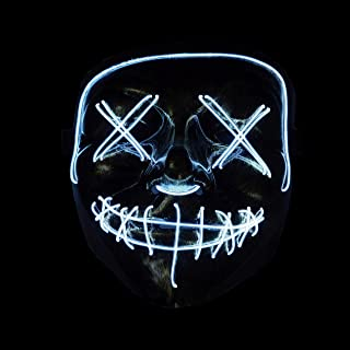 Frightening Wire Halloween LED Light up Mask for Festival Parties Cosplay Costume