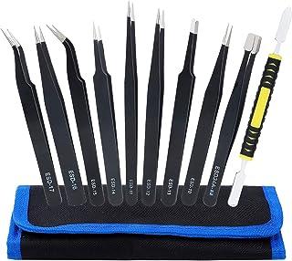 Pince à épiler Acier inoxydable 10 Pièces Kit de Pincettes ESD pour Électronique Réparation Beauté Travail de Laboratoire
