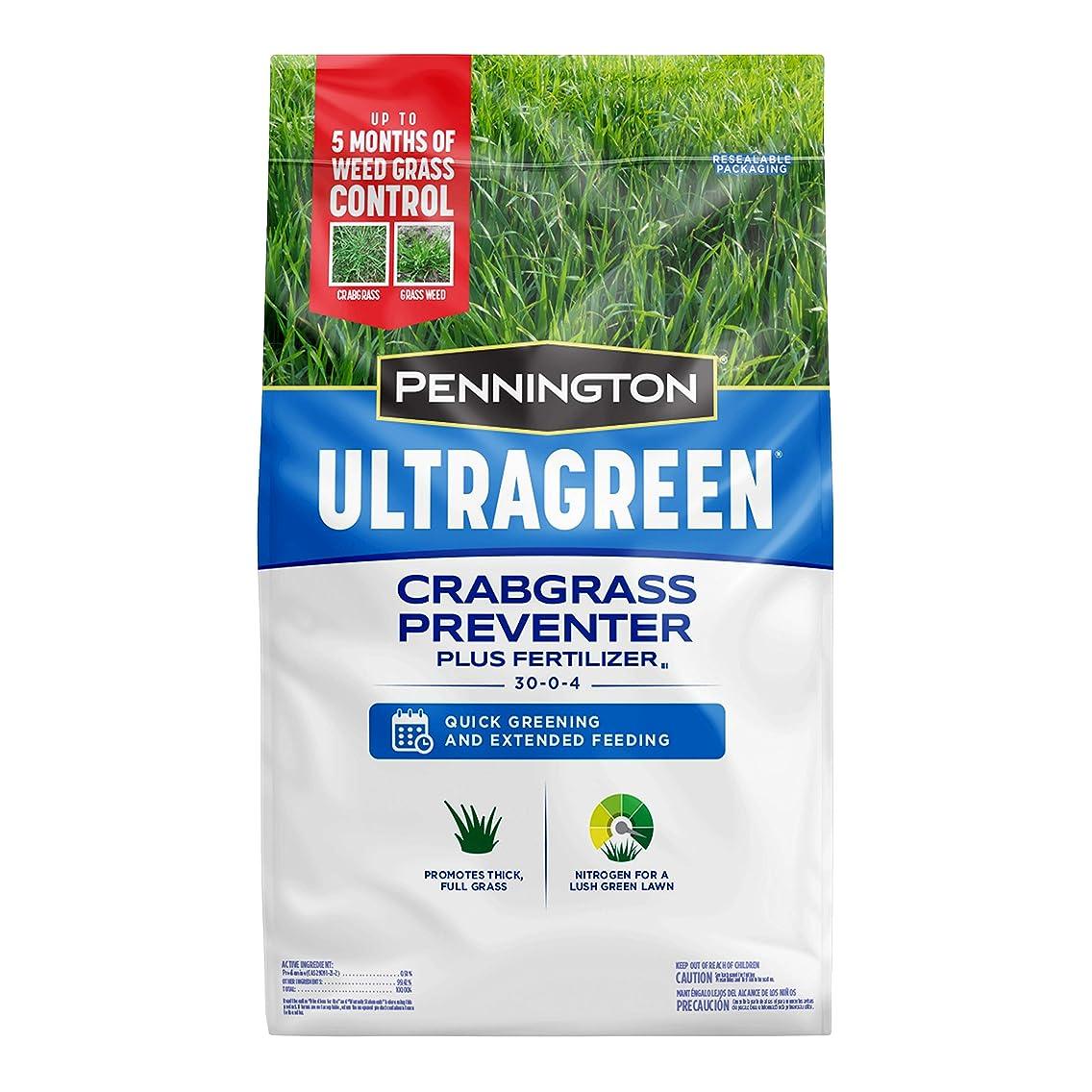 Pennington 100536604 UltraGreen Crabgrass Preventer Plus Lawn Fertilizer, 12.5 LBS, Covers 5000 Sq Ft