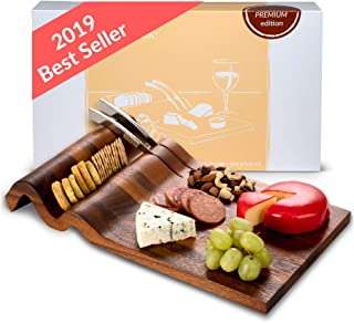 Nest & Nook Cheese Board and Knife Set | Large Charcuterie Board with 2 Stainless Steel Knives - Real Acacia Wood Trays. For Serving Cheeses, Meats, Crackers, Wine. Wedding Presents for the Couple.