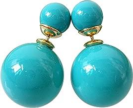 Double Sided ROYAL BLUE GRAFFITI Ball Stud Women Earrings Jewelry Accessories