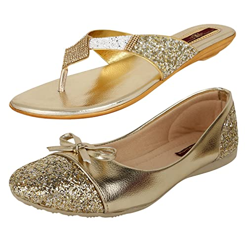 26877e386ef AUTHENTIC VOGUE Women s Combo Pack Golden Flat Sandal   Ballerinas (Combo  Pack ...