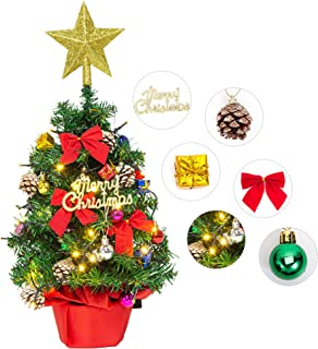 """Litake Tabletop Christmas Tree, 24"""" Mini Artificial Christmas Tree with Battery Operated LED String Lights and Ornaments f..."""