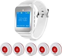 Wireless Restaurant Pager Calling System Table Service Call Buzzers Beepers Caregiver Alert for Hospital Kitchen Patient Nursing Church Cafe Shop 1pc Wrist Receiver + 5pcs Waterproof Call Buttons