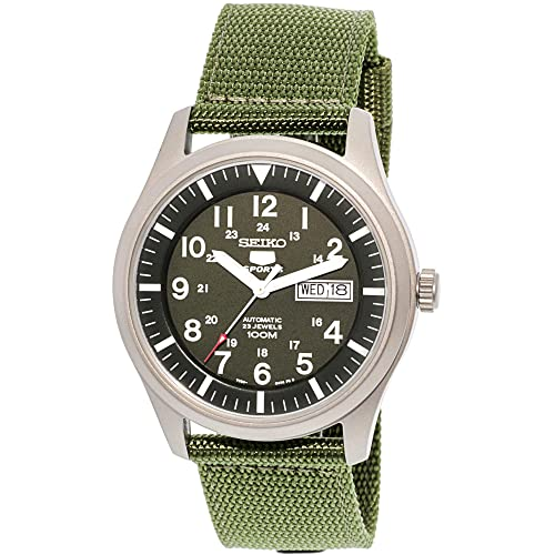 8ee6a6497 Seiko Men's 5 Automatic SNZG09K Green Nylon Automatic Watch